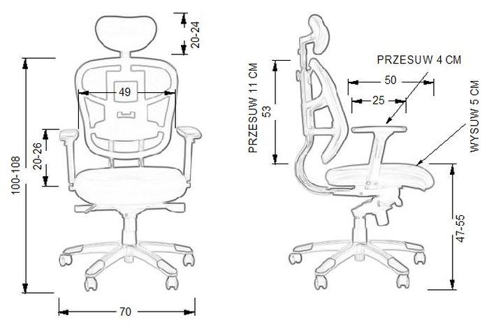 Fotel biurowy HN5018-wymiary