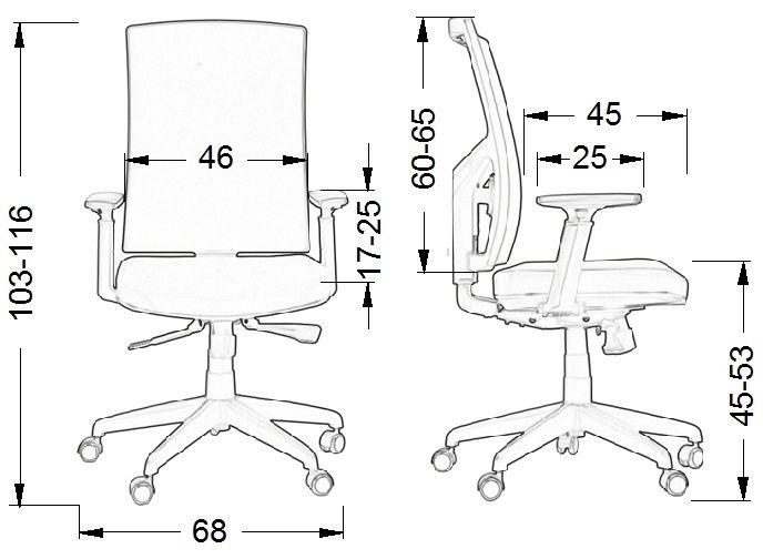 Fotel biurowy KB8922B-wymiary