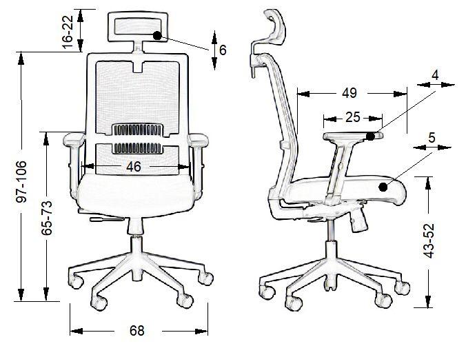Fotel biurowy Riverton-wymiary