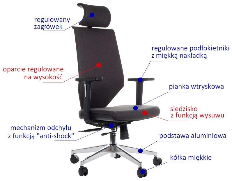 Fotel obrotowy z wysuwem siedziska