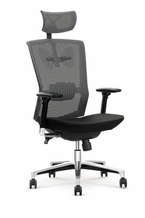 AMBASADOR fotel gabinetowy popielato / czarny