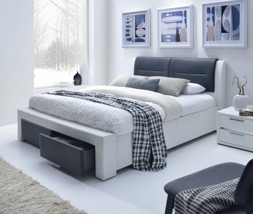 CASSANDRA S 160 cm łóżko tapicerowane z szufladami czarno-biały (5p=1szt)
