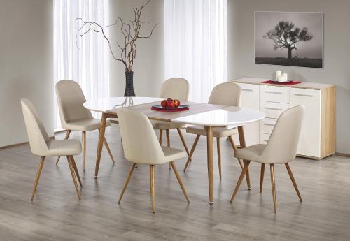 EDWARD stół rozkładany dąb miodowy / biały; nogi: dąb miodowy (2p=1szt)