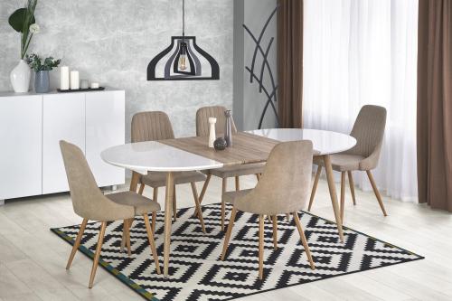 EDWARD stół rozkładany biały / dąb san remo