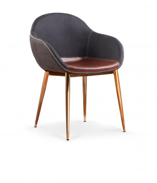 K304 krzesło ciemny popiel / brązowy / złoty chrom