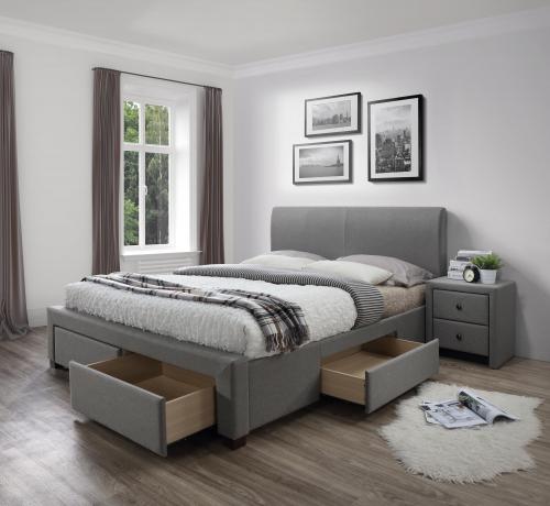 MODENA 160 cm łóżko tapicerowane z szufladami popiel (6p=1szt)