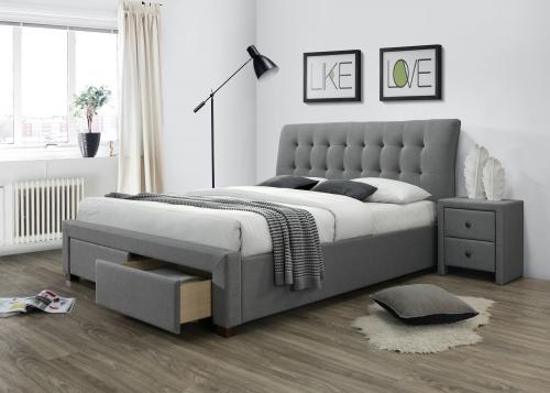 PERCY łóżko z szufladami popielaty