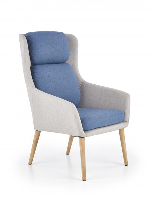 PURIO fotel wypoczynkowy jasny popiel / niebieski