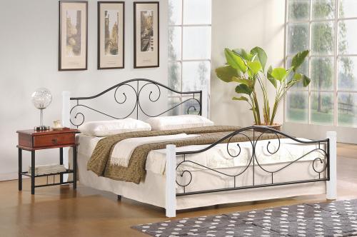 VIOLETTA 160 cm łóżko biały / czarny ze stelażem