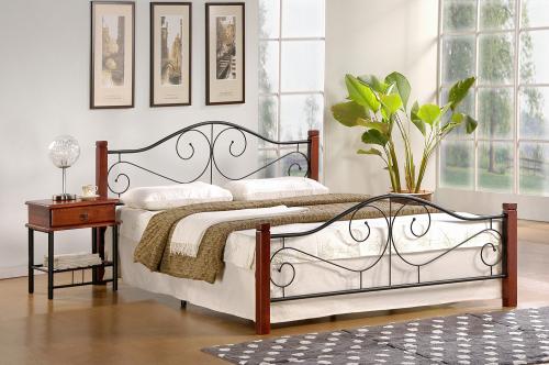 VIOLETTA 160 cm łóżko czereśnia ant./czarny (3p=1szt.) ze stelażem