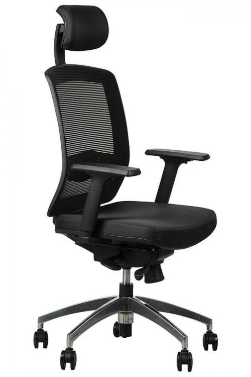 Fotel Biurowy Obrotowy  EF-GN301 alu z wysuwem siedziska, czarny