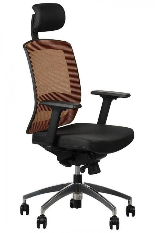 Fotel Biurowy Obrotowy  EF-GN301 alu z wysuwem siedziska, pomarańczowy