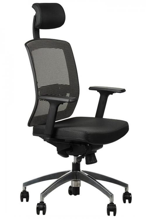 Fotel Biurowy Obrotowy  EF-GN301 alu z wysuwem siedziska, szary