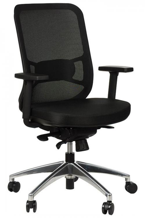 Fotel Biurowy Obrotowy  EF-GN310 alu z wysuwem siedziska, czarny
