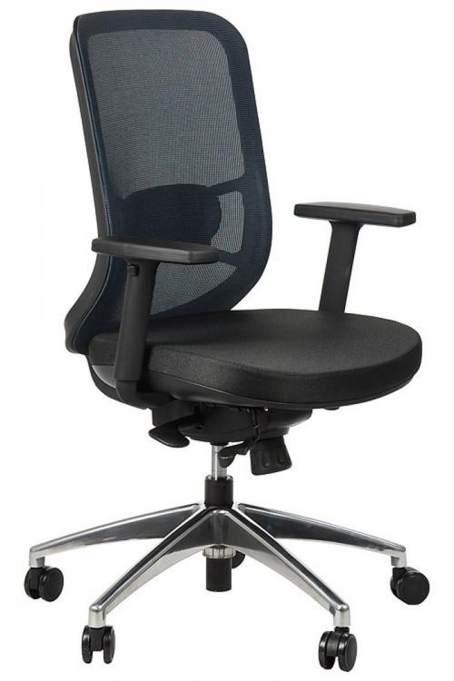 Fotel Biurowy Obrotowy  EF-GN310 alu z wysuwem siedziska, niebieski