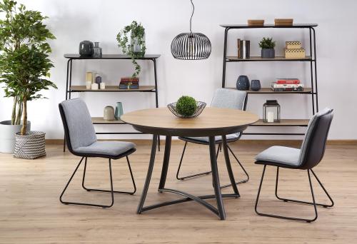 MORETTI stół rozkładany blat - dąb naturalny / popielaty, nogi- czarne