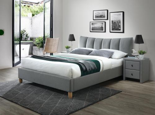 SANDY 2 łóżko tapicerowane tkanina popiel (2p=1szt)