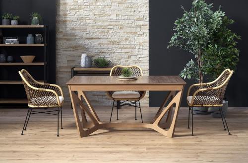 WENANTY stół rozkładany blat - orzech amerykański, nogi - orzech amerykański