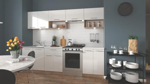VIOLA 260 kuchnia zestaw korpus: dąb sonoma, fronty: biały połysk (11p=1kpl)