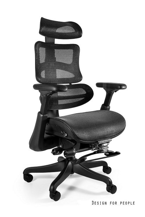 Fotel Obrotowy Ergothrone z podnóżkiem/ czarny