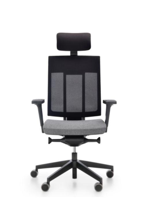Fotel biurowy obrotowy Xenon Net 111 z zagłówkiem z  regulacją podparcia lędźwiowego