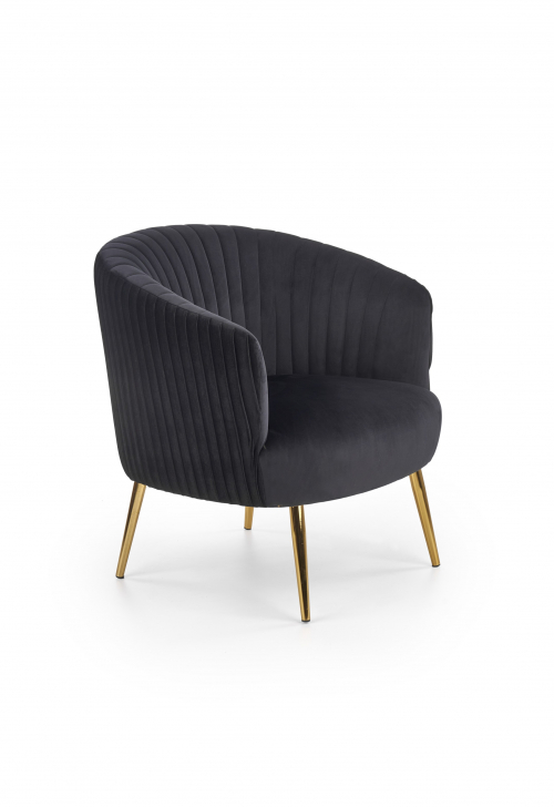 CROWN fotel wypoczynkowy czarny / złoty