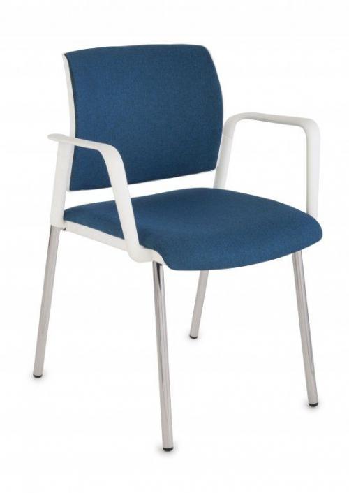Krzesło konferencyjne Set White Arm Chrome