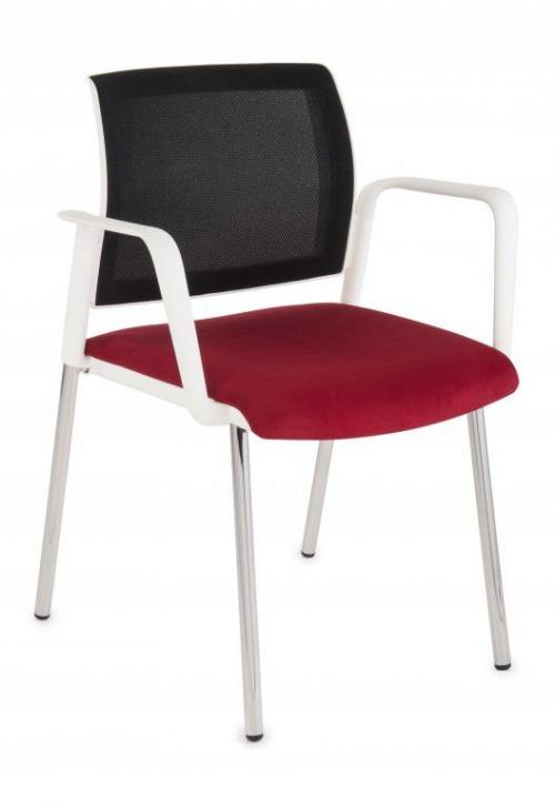 Krzesło konferencyjne Set White Net Arm Chrome