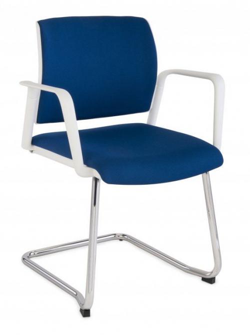 Krzesło konferencyjne Set White V Arm Chrome