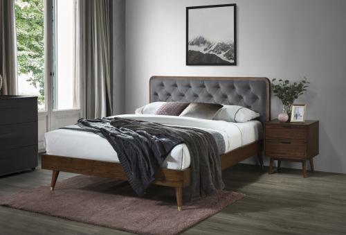 CASSIDY łóżko popielaty / orzech (3p=1szt)
