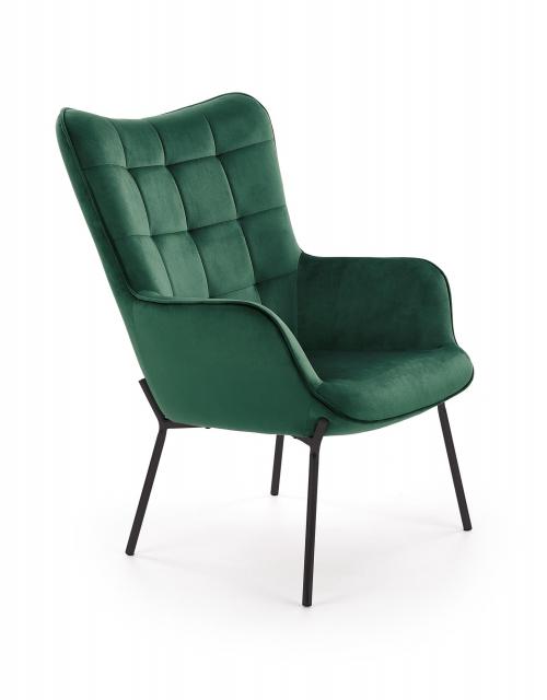 CASTEL fotel wypoczynkowy czarny / ciemny zielony