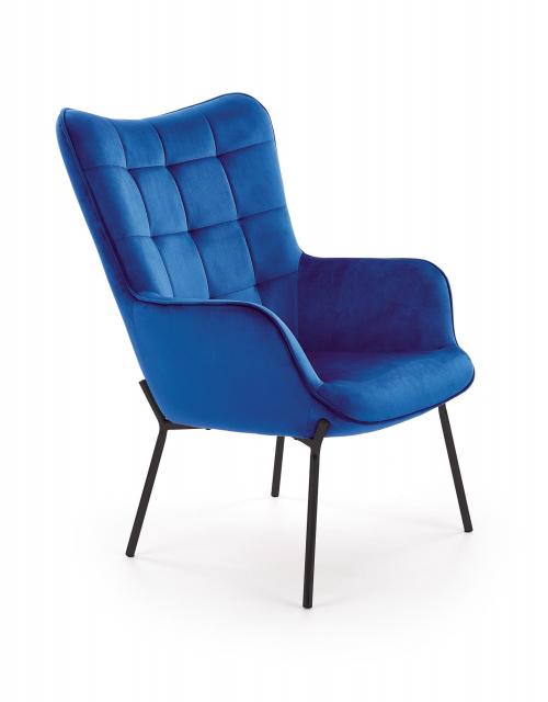 CASTEL fotel wypoczynkowy czarny / granatowy