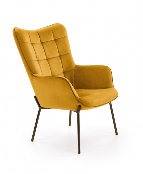 CASTEL fotel wypoczynkowy czarny / musztardowy