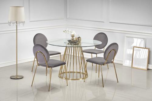 LIVERPOOL stół, blat - transparentny, nogi - złoty