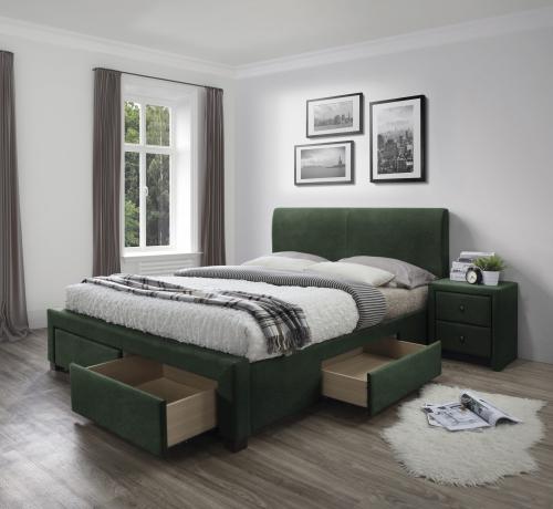 MODENA 3 łóżko z szufladami ciemny zielony velvet (6p=1szt)