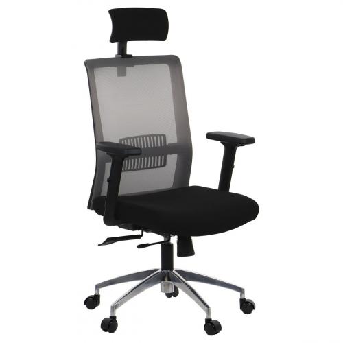 Fotel Biurowy Obrotowy RIVERTON M/H-ALU czarny-szary