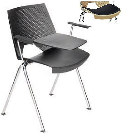 Krzesło konferencyjne STRIKE z pulpitem - na 4 nogach tapicerowane siedzisko