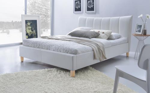 SANDY łóżko tapicerowane biały (2p=1szt)