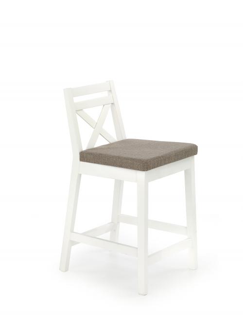 BORYS LOW krzesło barowe niskie biały / tap. Inari 23 (1p=2szt)
