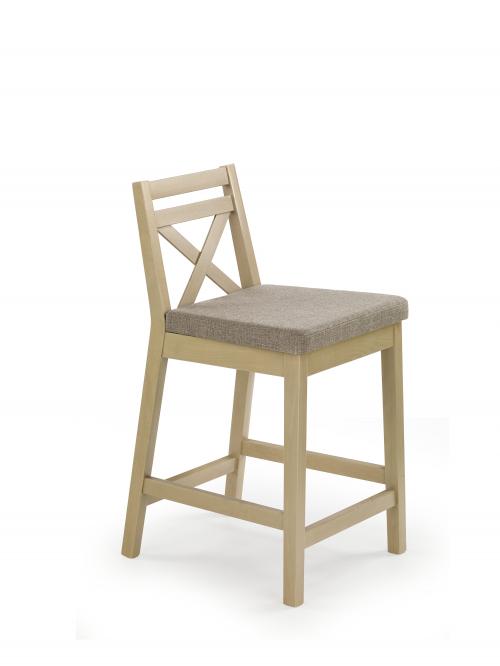 BORYS LOW krzesło barowe niskie dąb sonoma / tap. Inari 23 (1p=2szt)
