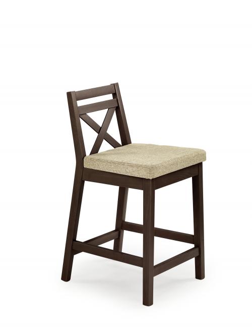 BORYS LOW krzesło barowe niskie ciemny orzech / tap. Vila 2 (1p=2szt)