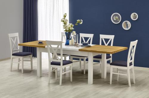 LEONARDO stół biały / dąb sonoma