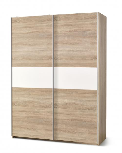 LIMA S1 szafa dąb sonoma / biały - drzwi przesuwne