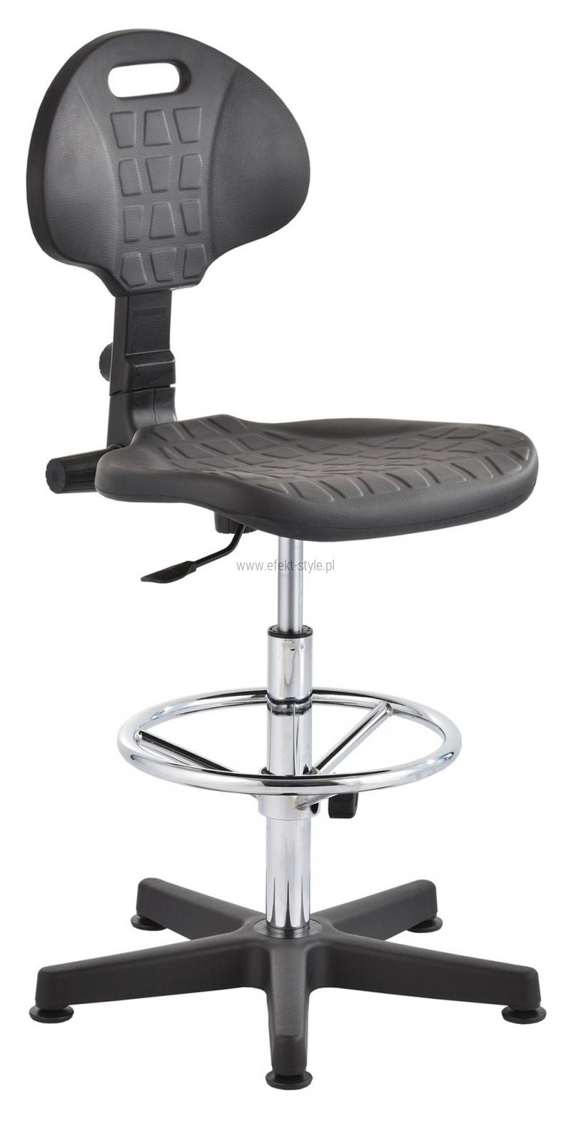 Krzesło laboratoryjne wysokie - czarny/chrom