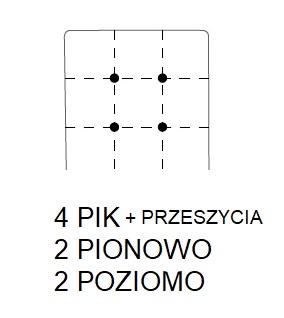 Hoker SIMPLE 67h - 4 PIK + przeszycie :2 przeszycia z guzikami pionowo; 2 przeszycia z guzikami poziomo