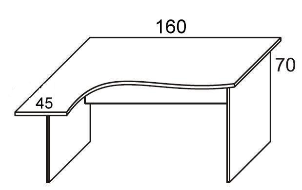 Biurko PRIMUS PB51/53/55 lewe - szer.1600/450 mm L