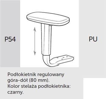 Fotel Biurowy obrotowy VERIS NET 111 z zagłówkiem - P54 PU czarny