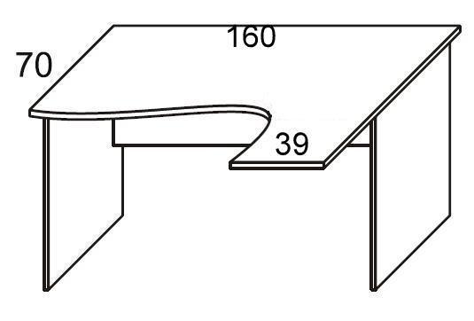 Biurko PRIMUS PB52/54/56 prawe - szer. 160/39 P