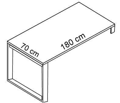 Biurko EVRO EVB 13 - 15 stelaż otwarty - EVB15 180x70x75h