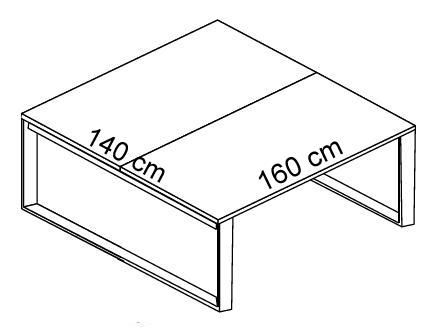 Biurko EVRO EVB 16 - 18 stelaż zamknięty - EVB17 160x140x75h
